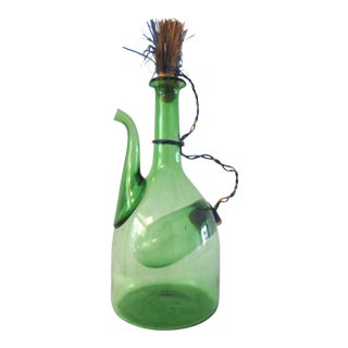1970s Green Blown Glass Wine Carafe For Sale