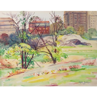1924 Central Park New York Egbert Cadmus Watercolor Painting For Sale