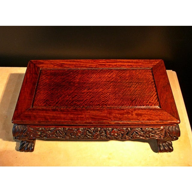 A Chinese Carved Longyan Wood Stand For Sale In Austin - Image 6 of 7