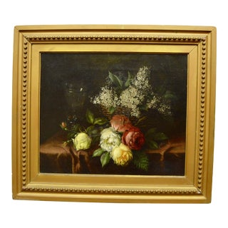 Antique Oil on Canvas Still Life Painting For Sale