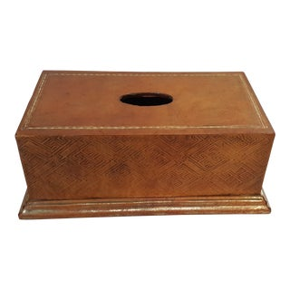 Sarreid Leather Tissue Box Cover For Sale