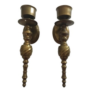 Mid-Century Modern Brass Wall Sconces - A Pair