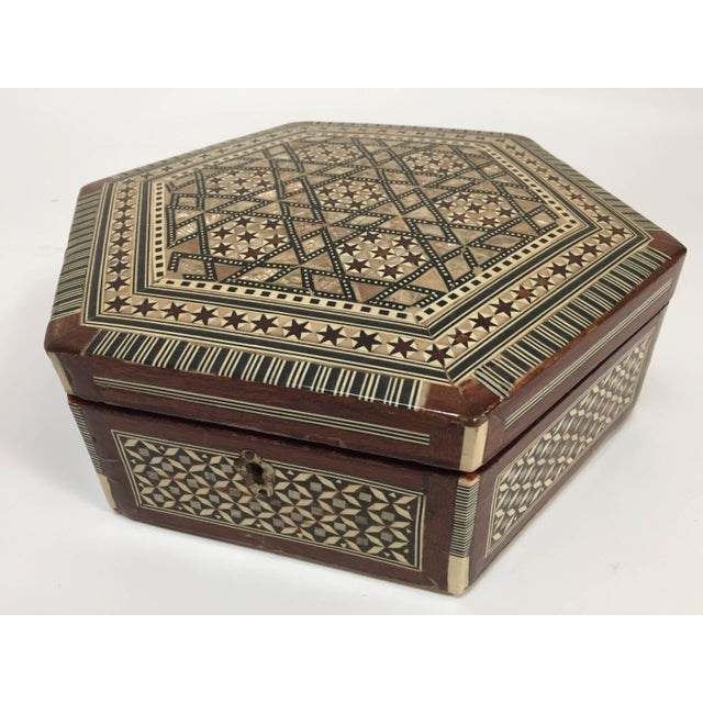 Middle Eastern Syrian Mother-Of-Pearl Inlaid Octagonal Box For Sale - Image 10 of 10