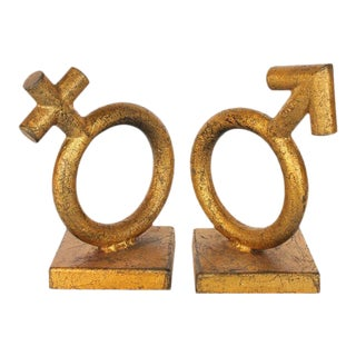 Mid-Century Gold Leaf Cast Iron Bookends - A Pair For Sale