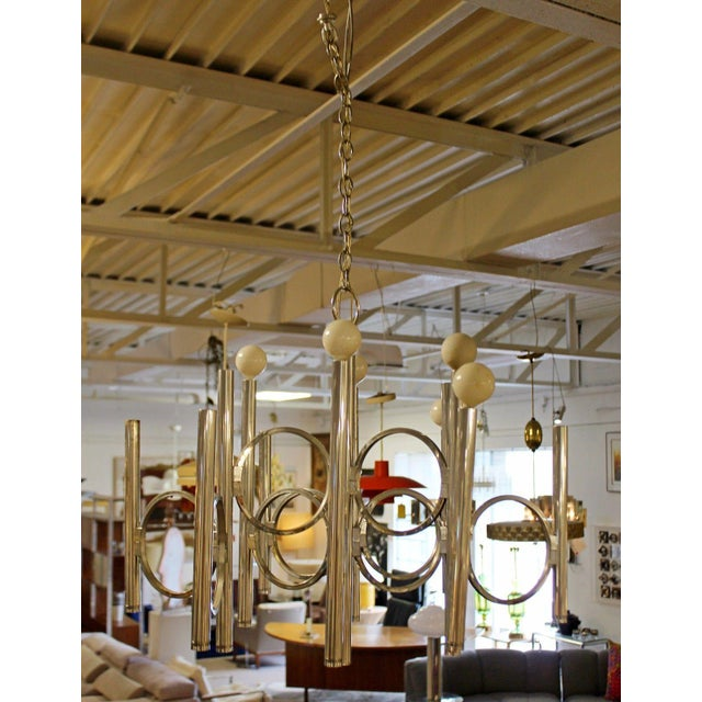 For your consideration is a whimsically unique, chrome chandelier by Gaetano Sciolari, circa the 1960s, 1970s. In...