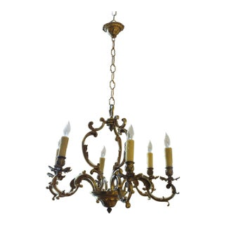 Early 20th Century Antique Bronze Rococo Style Chandelier For Sale
