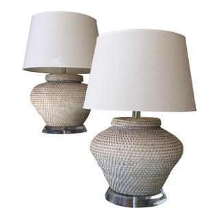 Richard Lindley Rattan Basket Lamps - A Pair