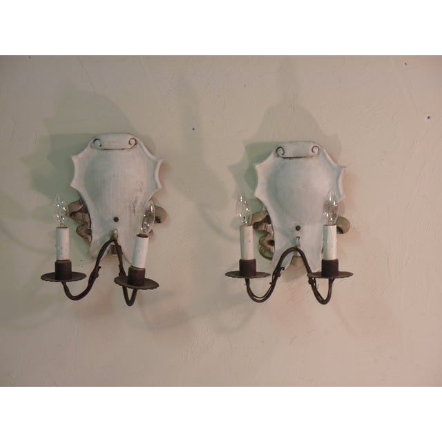 Italian Iron & Painted White Wood Sconces - A Pair - Image 2 of 6