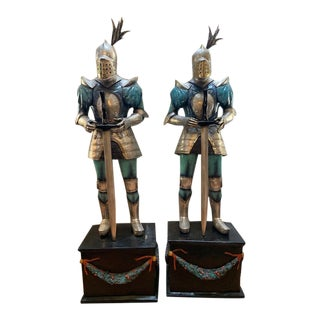 Vintage Old Wax Casted Bronze Knights on a Bronze Stands - a Pair For Sale