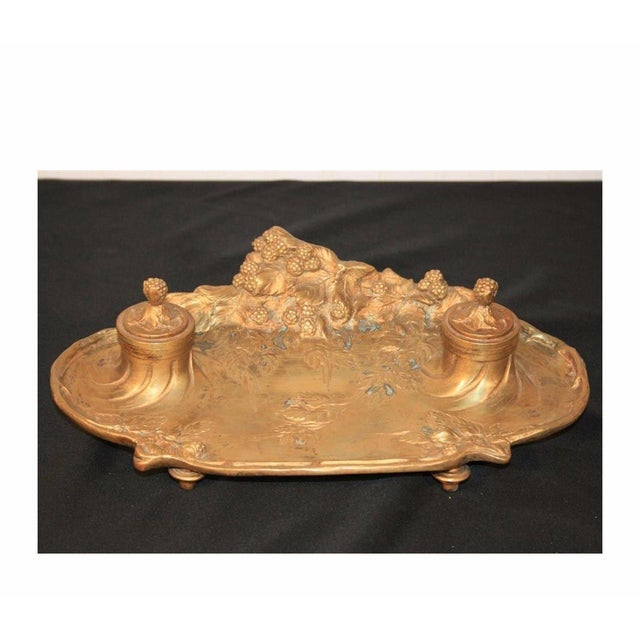 Antique French Art Nouveau Gilt Bronze Inkwell Signed A. Marionnet Depose For Sale - Image 11 of 11