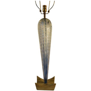 1950s Tall Blue Murano Glass Lamp on Wood Base For Sale
