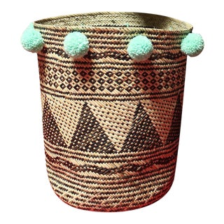 Borneo Drum Tribal Straw Basket with Mint Pom-poms