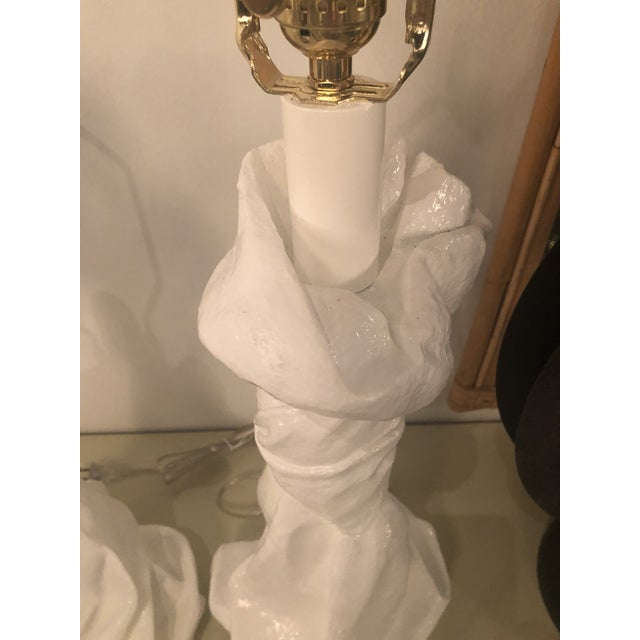 Brass Vintage Hollywood Regency White Lacquered Plaster Brass Lucite Draped Table Lamps - A Pair For Sale - Image 7 of 13