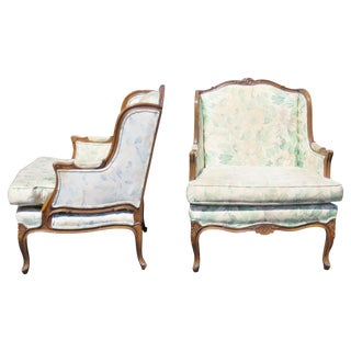 Louis XV Upholstered Carved Walnut Bergeres Marquis Armchairs- A Pair