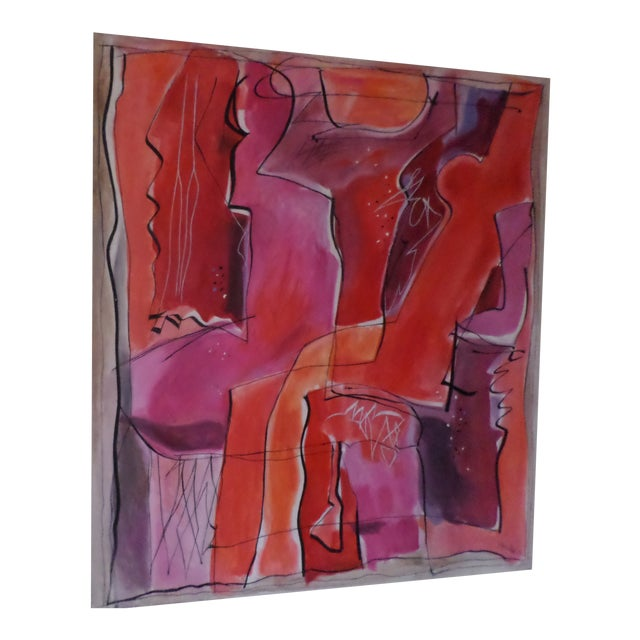 """Abstract Oil on Canvas by May Bender, """"Red Intrinsic"""" '98 For Sale"""