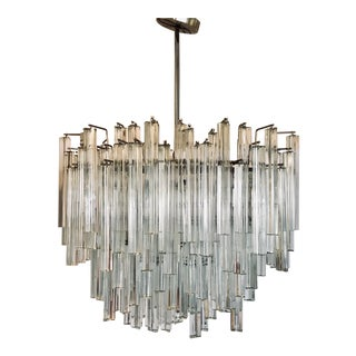 Signed Camer Glass Midcentury Venini, Italy Monumental Waterfall Chandelier For Sale