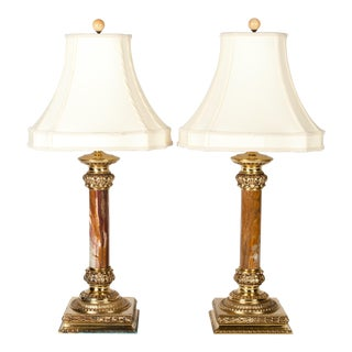Pair of Jade Lamps With Solid Brass Base