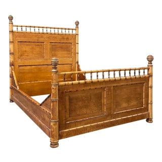 Antique Faux Bamboo Solid Maple Bed Made by Rj Horner For Sale