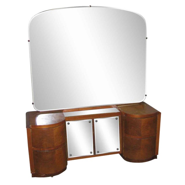 Art Deco Curved Drawers Vanity and Mirror For Sale