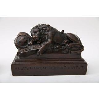 Bertel Thorvaldsen, Ahorn.Carved Book Ends Swiss Guard Lions of Lucerne, France Preview