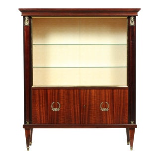 Mid-Century French Empire-Style Mahogany Vitrine/Display/Bar Cabinet With Brass Caryatids For Sale