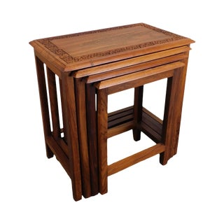Anglo Indian Solid Teak Wood Nesting Tables With Brass Inlay For Sale