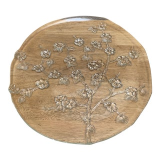 Large Cherry Blossom Glass Platter Tray For Sale