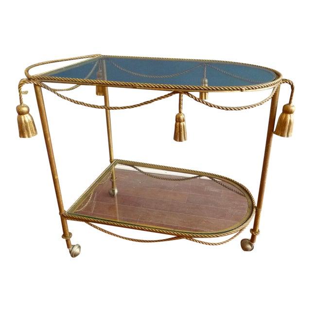 Mid Century Regency Italian Tassel Gilt Bar Cart - Image 1 of 10