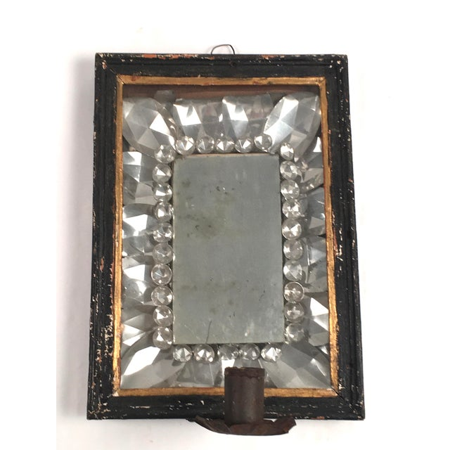 Crystal Early American Tin Mirrored Wall Sconce For Sale - Image 7 of 7