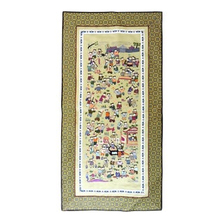 Vintage Embroidered 100 Boys at Play Silk Wall Hanging / Olive Green Table Mat For Sale