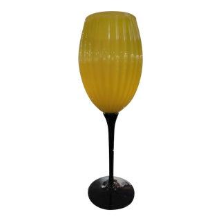 Vintage 1970s Black & Yellow Twisted Stem Art Glass Goblet For Sale