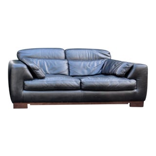 Modern Roche Bobois Leather Loveseat For Sale