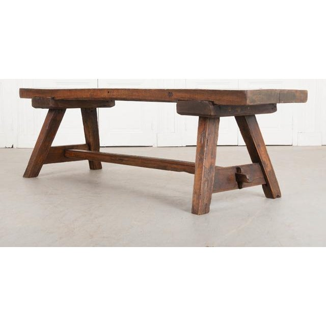 English Traditional English Early 19th Century Thick Oak Bench For Sale - Image 3 of 12