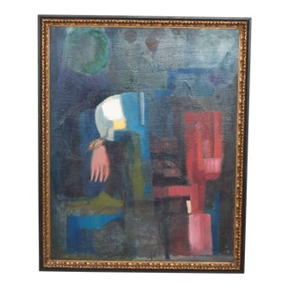 Mid Century Modern Art Abstract Oil on Rich Blue Pink Canvas Double Sided Painting For Sale