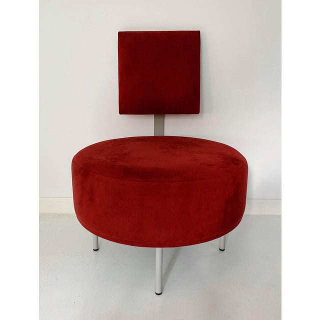 1980's Vintage Andrew World Contemporary Red Round Lounge Chair For Sale In Minneapolis - Image 6 of 6