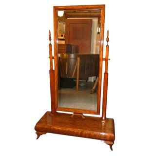 Wonderful Standing Art Deco Honduras Mahogany Wood Mirror For Sale
