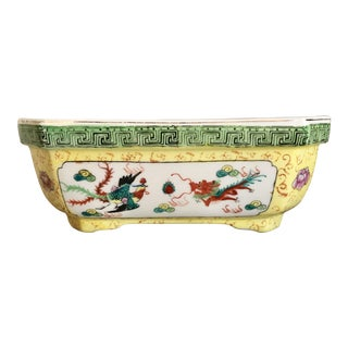 Chinoiserie Yellow and Green Planter For Sale