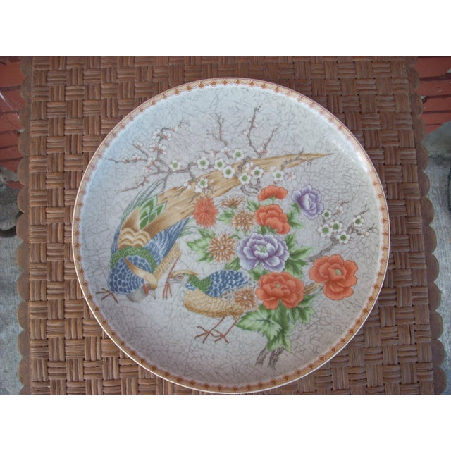 Exclusive design by Shufford. Gray crackle background highlights a pair of Chinese pheasants amid a collection of multi-...