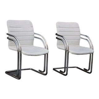 Pair Chromcraft High Design Tubular Chrome Arm Chairs