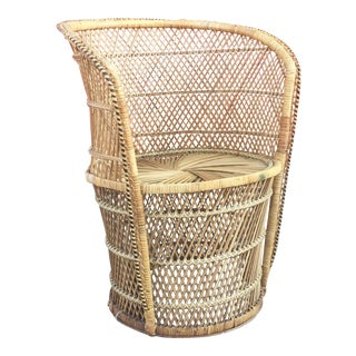 Vintage Wicker Low Profile Throne Chair For Sale