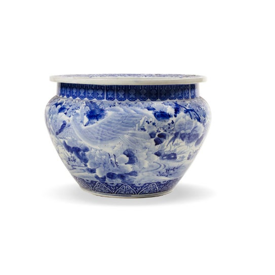 Striking blue and white French cache pot in porcelain, c.1950. Quite large, exquisitely crafted. Chinese style.