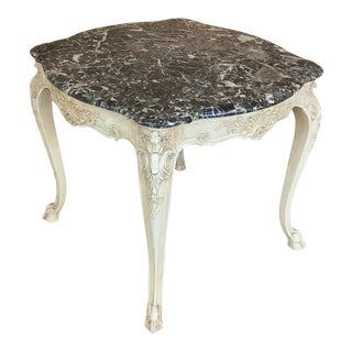 19th Century French Regence Painted Marble Top Table For Sale