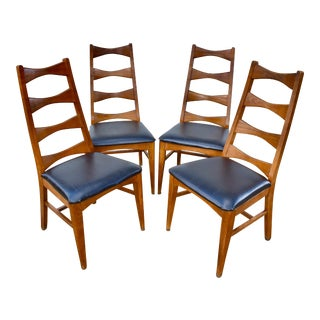 Mid-Century Modern Ladder Back Chairs Set of 4