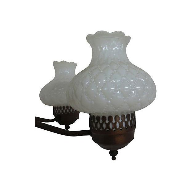 Chandelier With Milk Glass Shades - Image 3 of 4