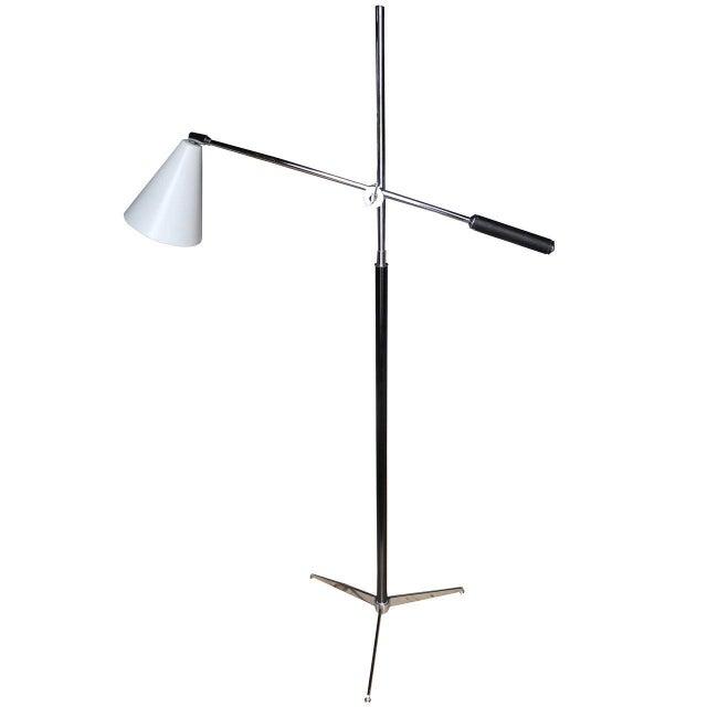 Metal 1960s Italian Modern One-Arm Floor Lamp for Arredoluce For Sale - Image 7 of 8