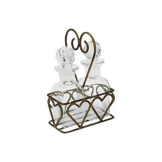 French Cruet Set W/ Heart Caddy, 3 Pcs