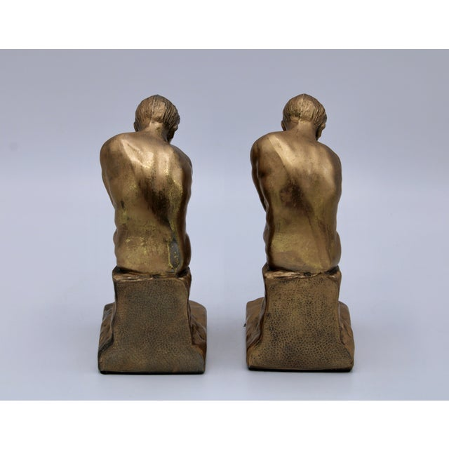 1928 Metallic Gold Thinking Man Bookends For Sale - Image 4 of 12