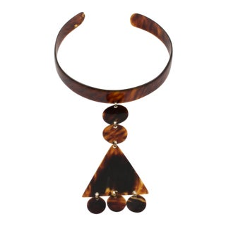 1970s Space Age Courreges Style Celluloid Dog Collar Necklace Tortoiseshell For Sale