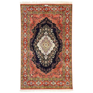 Vintage Persian Silk Qum Rug - 3'4 X 5'6 For Sale