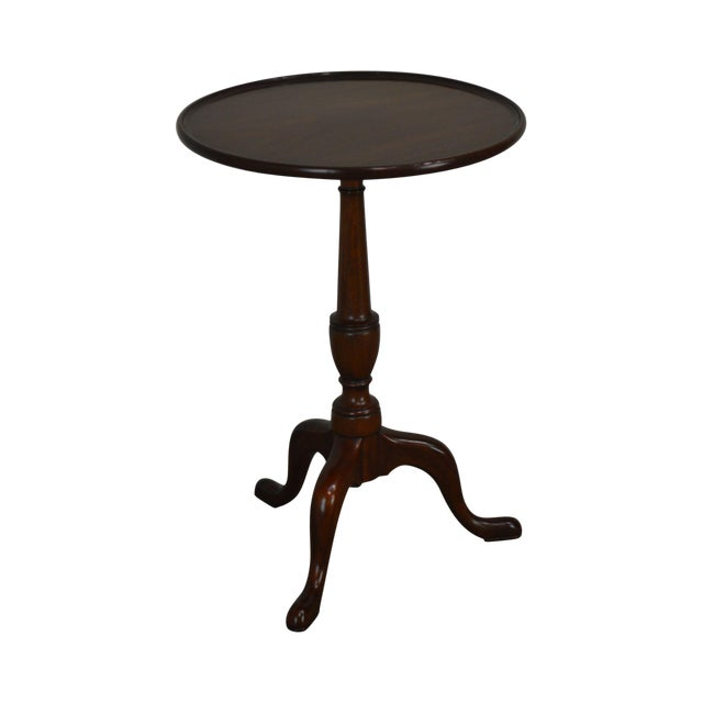 """Henkel Harris Traditional Mahogany 20"""" Round Pedestal Side Table For Sale"""